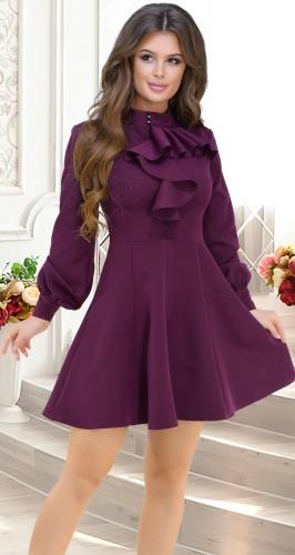 Красивое платье с расклешённой юбкой ,марсала