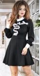Красивое платье с белым кружевом ,чёрное