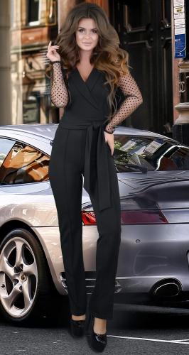 Комбинезон черный с рукавами из полуматовой сеточки с бархатной точкой