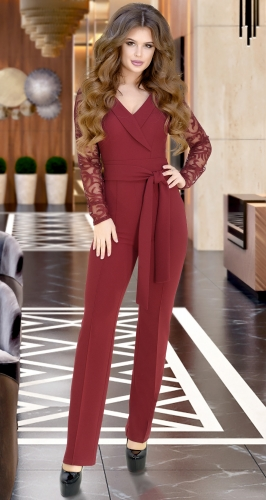 Комбинезон бордовый с рукавами из полуматовой сеточки с вышивкой № 38873