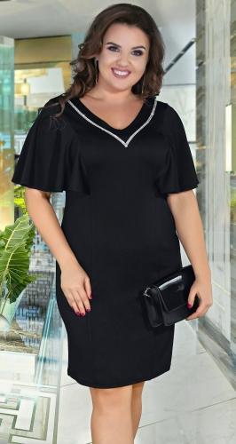 Нарядное чёрное платье с кристаллами ,№ 38891