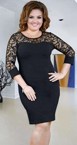Нарядное трикотажное платье черное