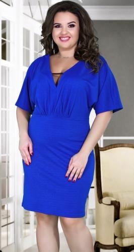 Свободное нарядное платье № 38991 ,ярко синее