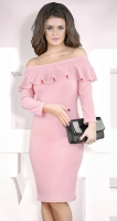 Платье с открытыми плечами и воланом № 3909 ,пудровое