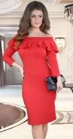 Платье соткрытыми плечами и воланом ,красное