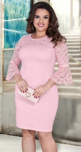 Нарядное  платье с необычными кружевными рукавами № 3910,пудровое