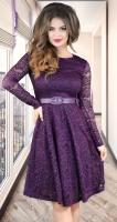 Гипюровое платье с ремешком,марсала