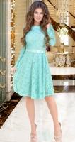 Гипюровое платье с ремешком № 3914,мятное