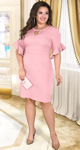 Нежное прямое платье с красивыми рукавами № 39161,пудровое