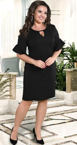 Нежное прямое платье с красивыми рукавами № 39161,чёрное