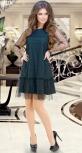 Модное чёрное платье-сетка с изумрудным нижним платьем № 3927
