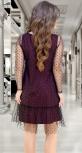 Модное чёрное платье-пачка с бордовым нижним платьем № 3927