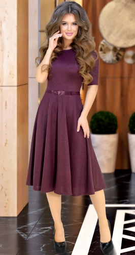 """Красивое платье """"миди"""" с расклешённой юбкой и ремешком № 3928,марсала"""