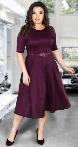 """Красивое платье """"миди"""" с расклешённой юбкой и ремешком № 39281,марсала"""