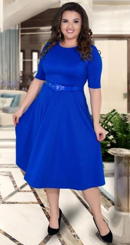 """Красивое платье """"миди"""" с расклешённой юбкой и ремешком № 39281,ярко синее"""