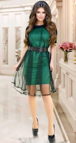 Необычное  стильное платье № 3944,зелёное