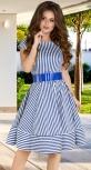 Платье в полоску № 3958,синее