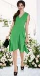 Платье с v-вырезом и оборками № 3933,зелёное