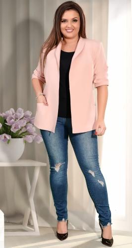Модный пиджак цвета пудра на подкладке №36221