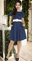 Катоновое платье № 3968,синее