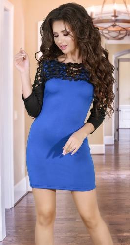 Красивое платье цвета электрик с ажурным верхом
