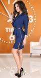 Синее деловое платье с поясом