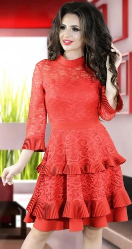 Красивое красное коктейльное платье № 3836