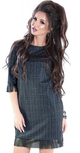 Платье № 3474SN серая клетка на красно-черном (розница 535 грн.)