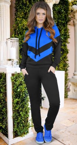 Сине-черный стильный спортивный костюм