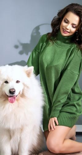 Удлинённый свитер № V901023