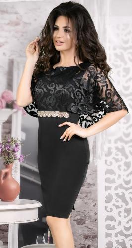 Вечернее платье с шёлковой вышивкой черное