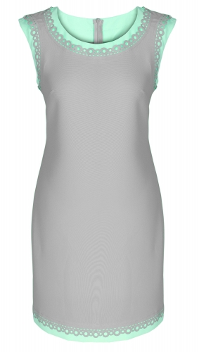 Платье № 3332SN серый и лагуна