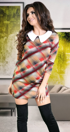 Стильное платье в красно-коричневую клетку № 3185
