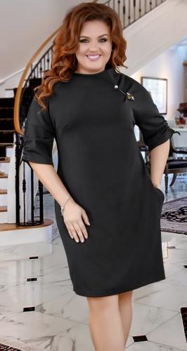 Нарядное  платье с брошью ,чёрное