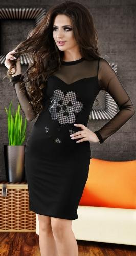 Эффектное коктейльное платье черного цвета