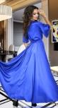 Платье № 1478 листья на голубом