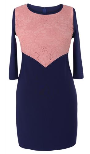 Платье № 32651SN синий и персиковый