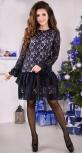 Нежное синее коктейльное платье