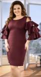 Эффектное коктейльное платье цвета марсала