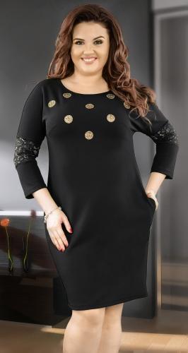 Стильное черное платье  № 3850