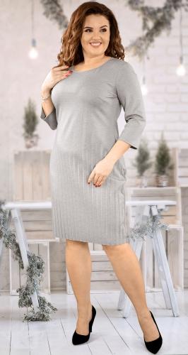 Стильное светло-серое(меланж) платье с плиссе