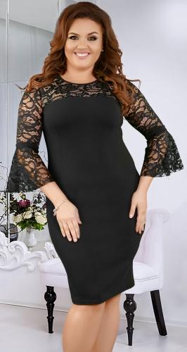 Нарядное  платье с необычными кружевными рукавами ,чёрное