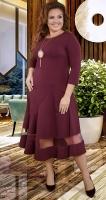 Нарядное трикотажное  платье с асимметричными линиями ,марсала