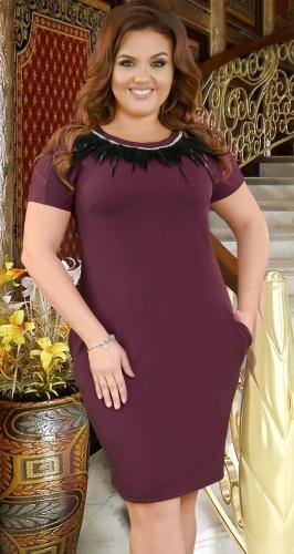 Красивое  платье с перьями № 38751,марсала