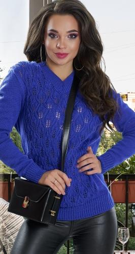 Вязанный ажурный свитер фиолетовый № V 90053