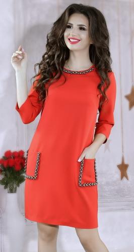 Стильное офисное платье красного цвета №3834