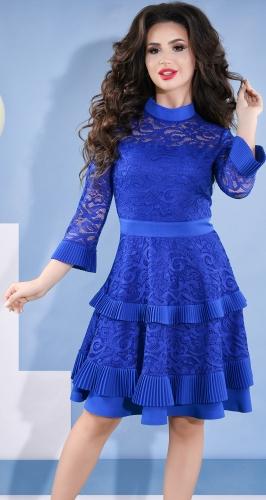 Красивое коктейльное платье № 3836 , ярко синий