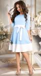 Очаровательное голубое платье с поясом