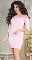 Вечернее пудровое платье с цветами № 33106
