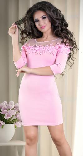 Розовое платье с открытыми плечами № 33106